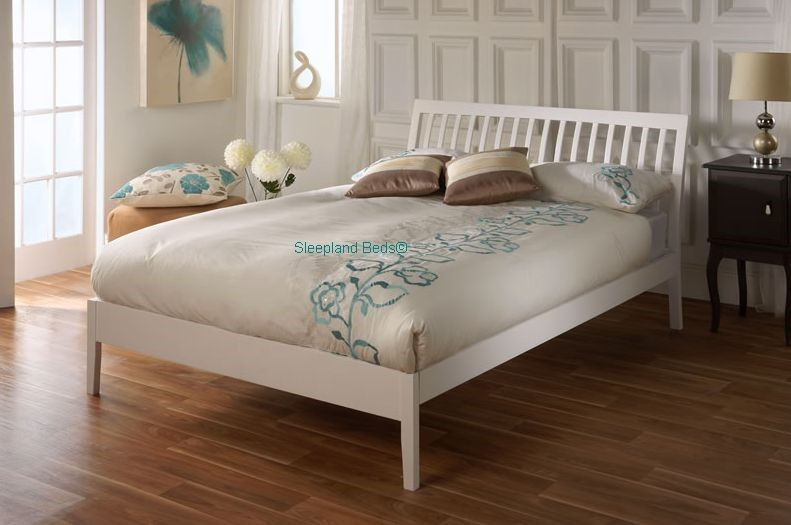 Small double white bed frame limelight ananke 4ft small double bed