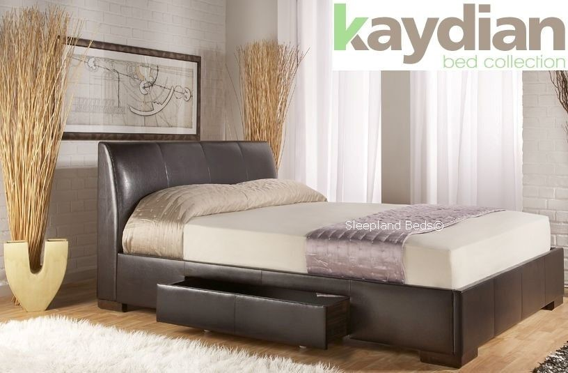 faux leather bed frame with drawers 1