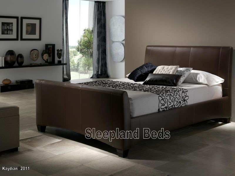 real leather sleigh bed 2