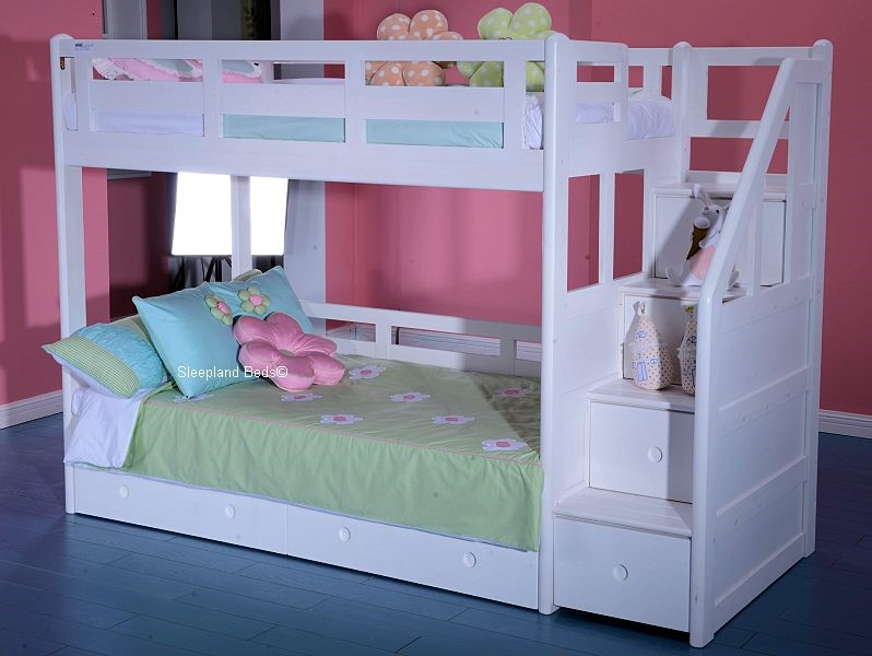 ... Childrens Solid Wood White Bunk Bed With Staircase Storage And Drawers