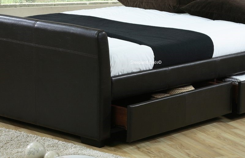 brown leather sleigh bed with drawers 3