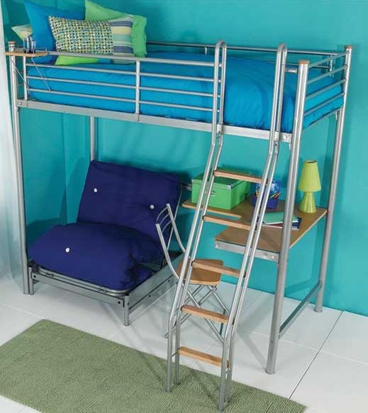 Medium image of 197 x 141 x 177cm   615 high sleeper bed with futon desk and shelves