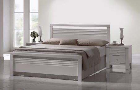 fion bed white wooden double bed frame