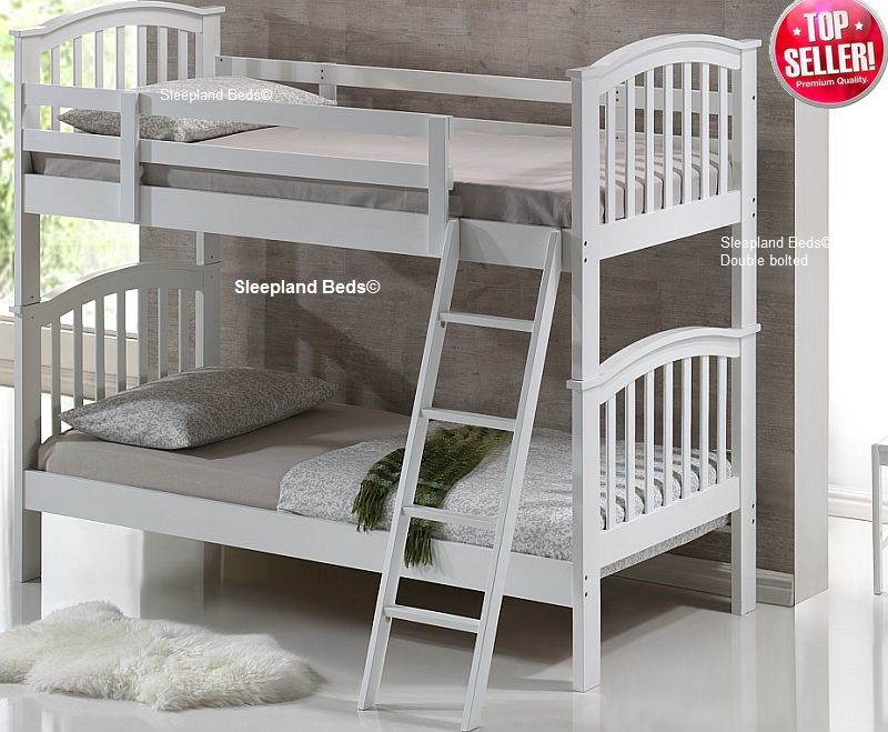 White Wooden Bunk Beds And Waterproof Mattresses