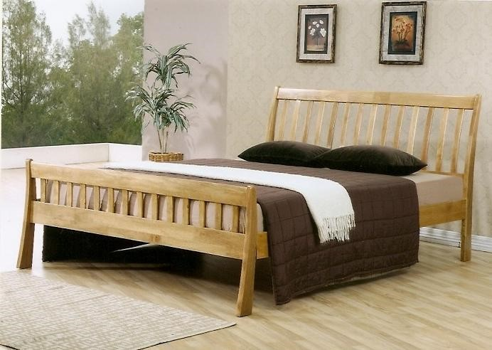 Rockingham Wooden Double Bed Frame | Light Oak Finish