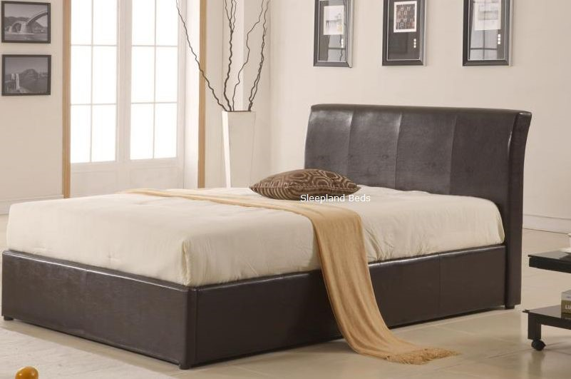 The Texan 4ft Ottoman Bed Is An Easy Lift Up Storage Bed In Dark Brown Or  Black Faux Leather. The Storage Area Easily Lifts With The Gas Lift  Mechanism.