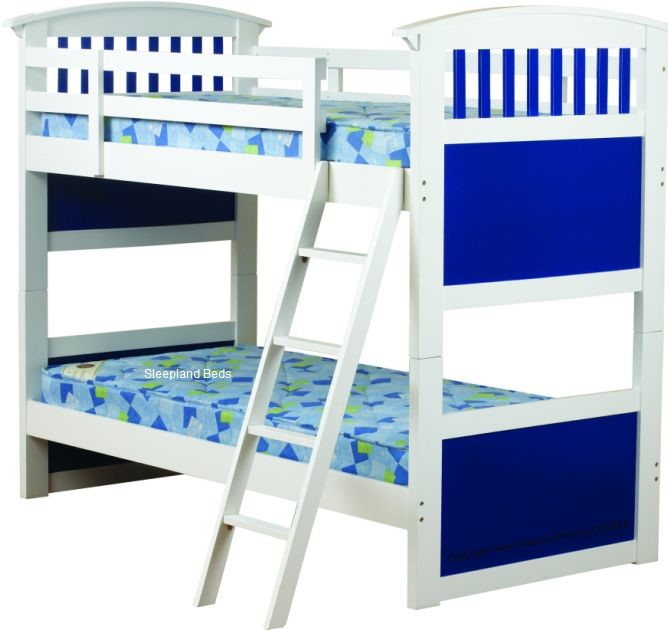0b3143a93879 Sweet Dreams Ruby Blue Bunk Bed | Blue and White Wooden Bunk Beds