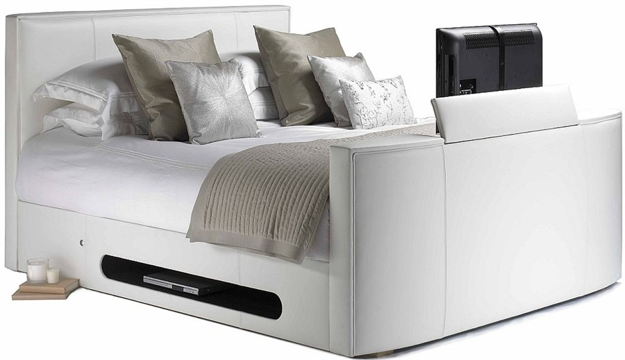 White Leather Compact New York Tv Bed 6ft Super Kingsize