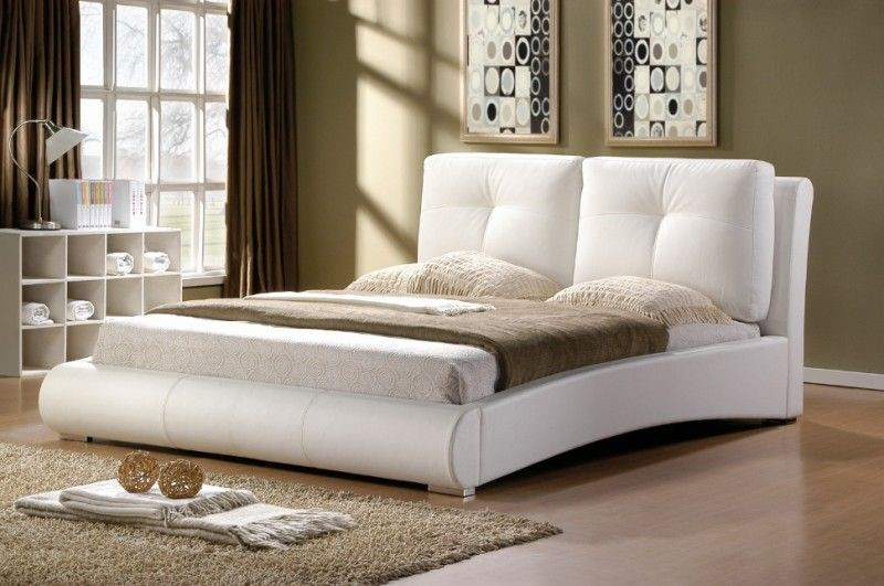 ambers merida bed frame white leather