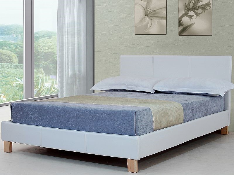 5ft Kingsize White Faux Leather Bed Frame Byron Bed By Sleepland Beds