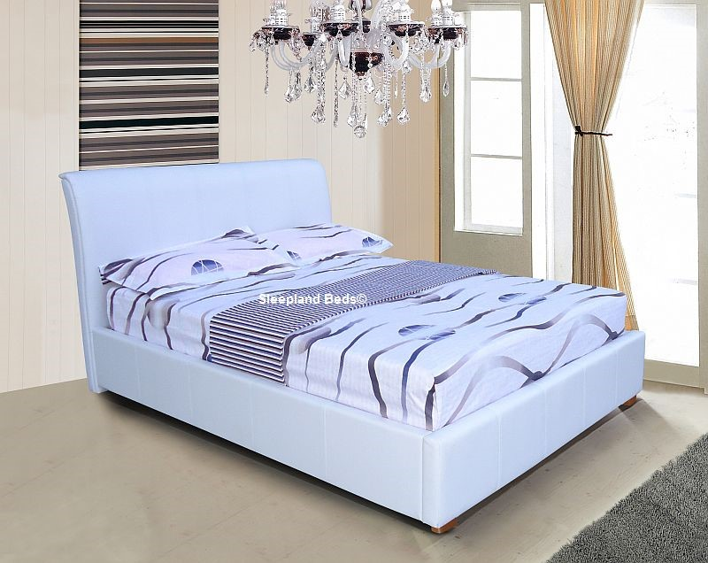 White Ottoman Bed 3ft Single Luxury White Faux Leather
