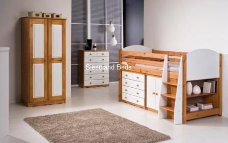 Childrens Storage Bed - White Pink Blue Or Pine Midsleeper With Cupboard And Chest & Childrens Storage Bed - Mid Sleeper With Chest and Cupboard Storage