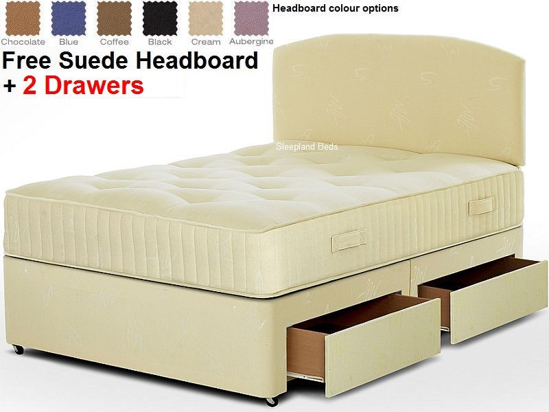 Herie 1000 Pocket Memory Mattress With Navy 2 Drawer Divan Base Double