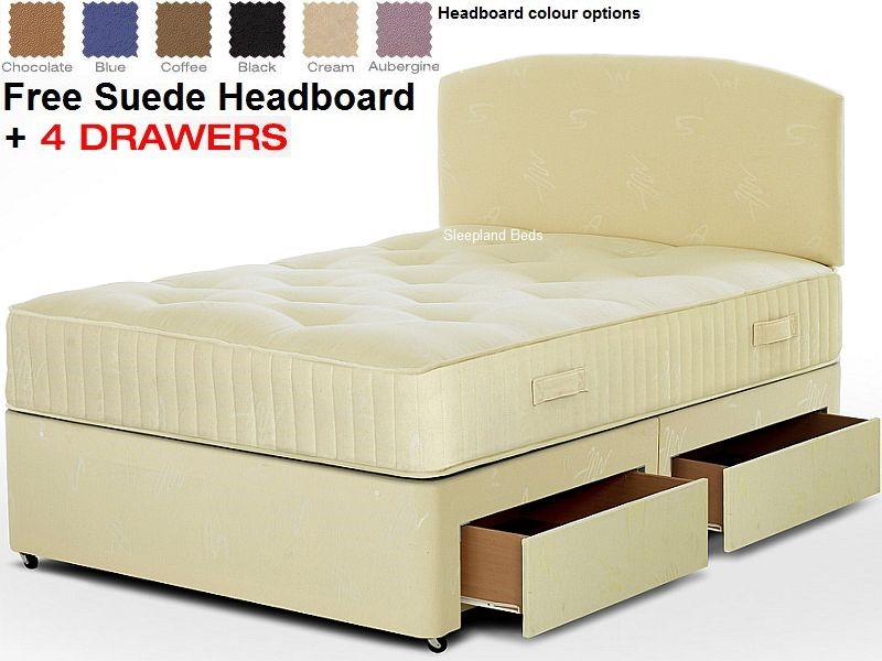 Buy Firm Titan Sapphire Divan Bed Is A Premium Firm Comfort Double Bed Comes With A Free Suede Headboard In A Choice Of Colours And Four Large Drawers