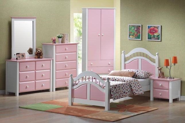 pink wooden bed frame