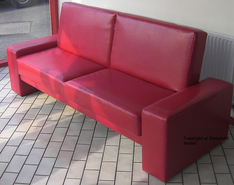 Red Sofa Bed 2 Seater Sofa Bed In Red Faux Leather By Sleepland Beds