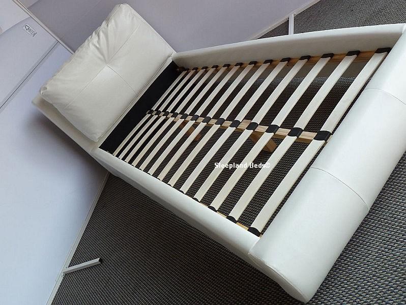 White Single Leather Beds Sleepland White Merida Cushion Bed Frame