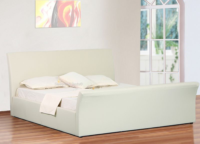 Davinci Sleigh Bed With Ottoman Storage 6ft Super Kingsize Cream