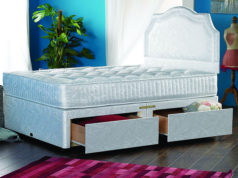 Dorchester Sprung Divan Bed With Drawers ... & Dorchester Sprung Divan Bed With 2 Free Drawers - 4ft 6 Double