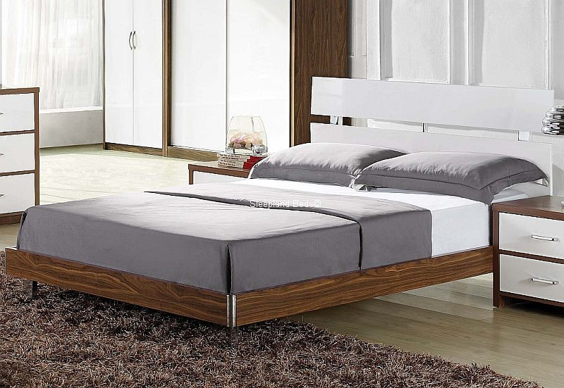 signature milan white gloss and walnut bed frame 4ft 6 double