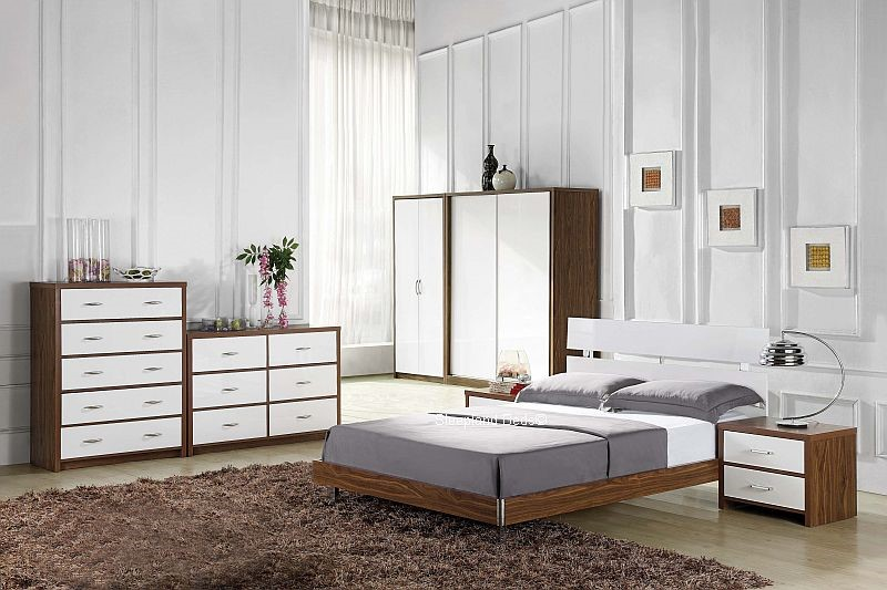 White and walnut bedroom furniture