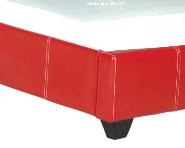 Red Faux Leather Paris Bed Frame 3ft Single