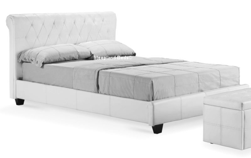 amalfi diamond white faux leather bed frame 4ft 6 double