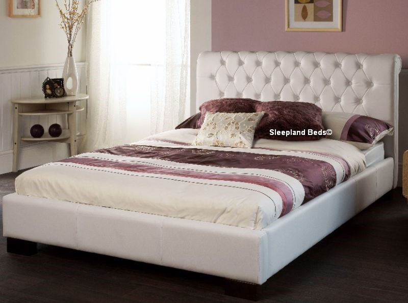 Aries White Faux Leather Bed Frame - 5ft Kingsize