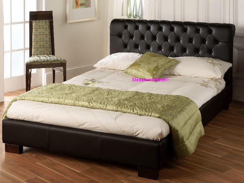 aries black faux leather bed frame 4ft 6 double