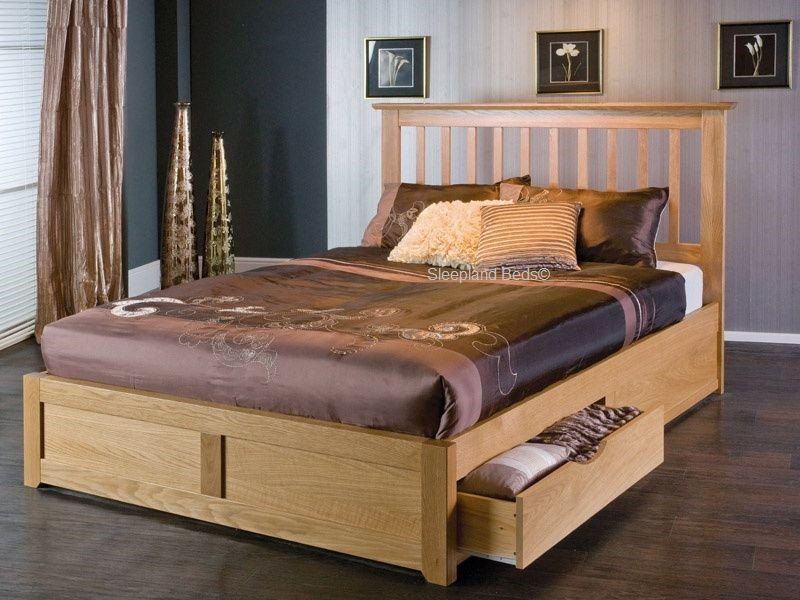 Oak Storage Bed Frame Oak Wooden ... & Oak Storage Bed With Drawers - Limelight Bianca Bed Frame - 5ft Kingsize