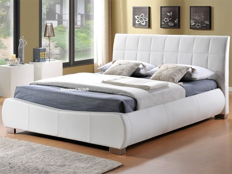 Dorado White Faux Leather Bed Frame 6ft Super Kingsize