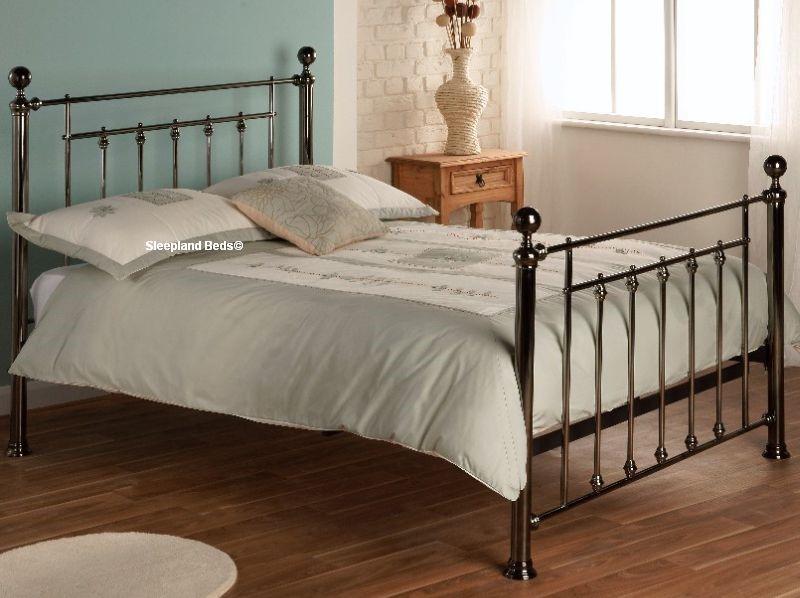 libra black chrome metal bed frame by limelight 5ft kingsize - Black Metal Bed Frame