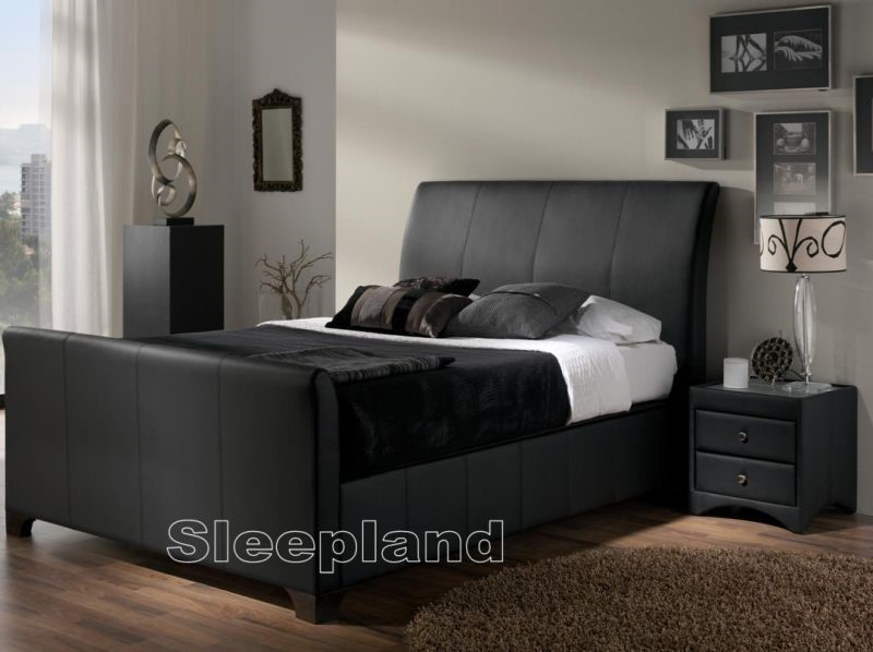 Kaydian Allendale Brown Or Black Leather Ottoman Bed 6ft Super