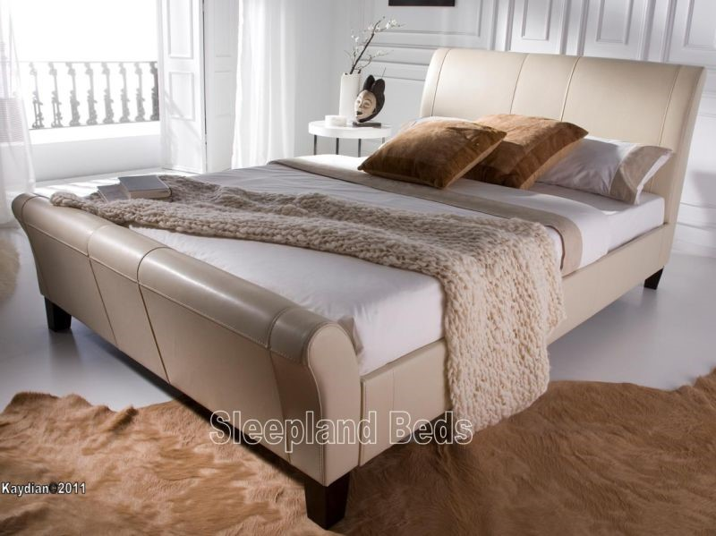 upholstered leather sleigh bed. Kaydian - Rothbury Ivory Leather Sleigh Bed By 6ft Super Kingsize Upholstered