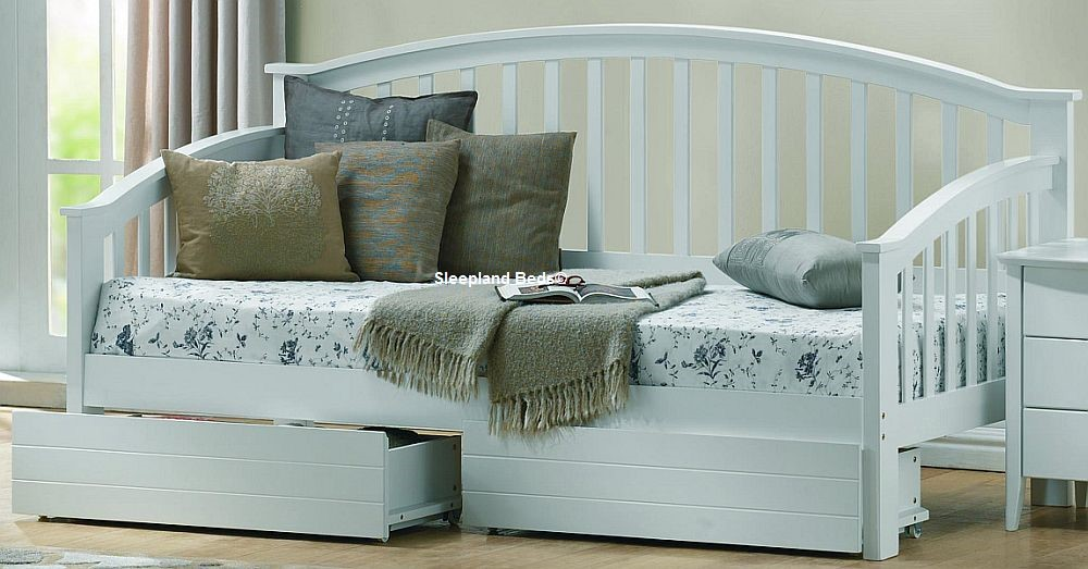 White Wood Day Bed With Drawers Sleepland Beds