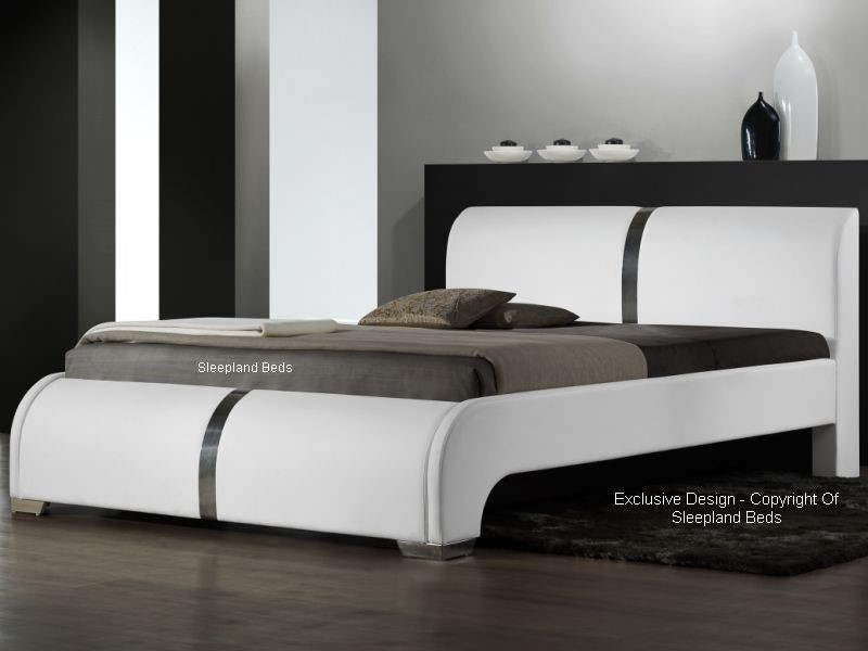 Modern Leather Bed - White Faux Leather Ebony Bed Frame - 4ft6 Double