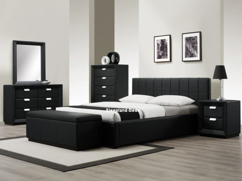 High Quality Rossi Luxury Black Leather Bedroom Furniture