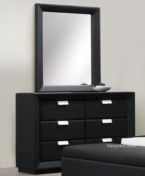 Black Leather  Drawer Dresser