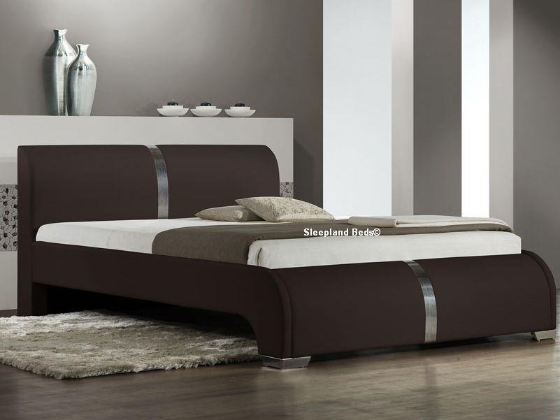 Brown Ebony Bed Frame Luxury Matt Brown Faux Leather 5ft Kingsize