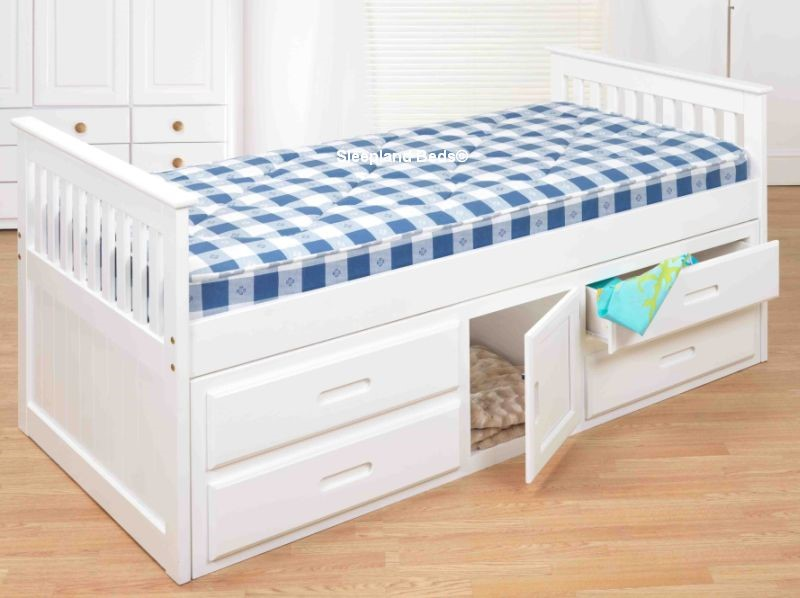 White Captain Bed Single Childrens Wooden Captains Storage Bed