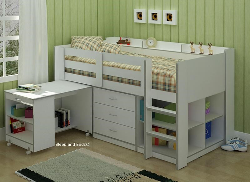 ... White Childrens Storage Bed With Desk ... & White Childrens Bed - Ultimo Sleep Station With Storage Desk And Shelves