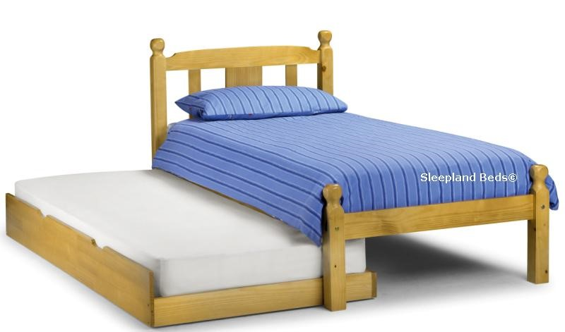 Poppy 3ft Single Pine Wooden Bed Frame With Guest Trundle Bed