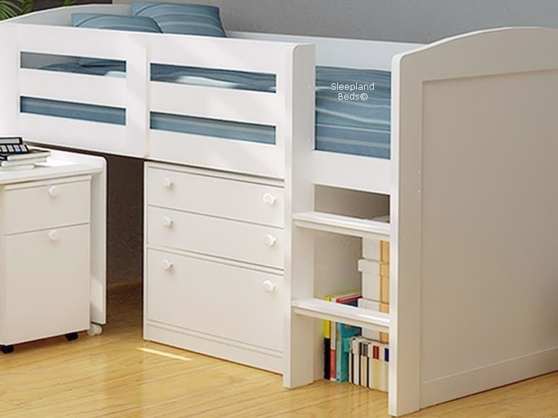 Childrens Chester White Midsleeper Bed Chester White Midsleeper Bed By Sleepland Beds & Chester White Midsleeper Beds - Childrens Bed With Desk And Storage