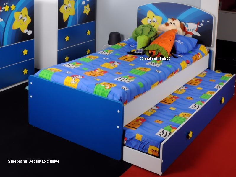 Childrens Beds Galaxy Star Theme Blue Single Kids Bed And Trundle