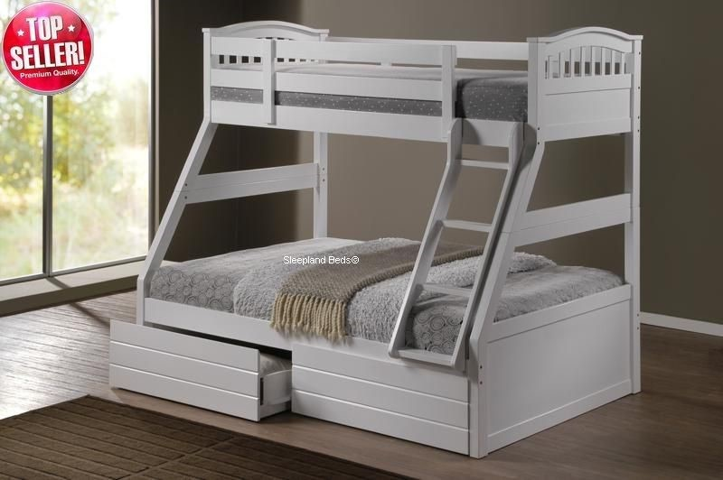 White Triple Bunk Bed With Storage Drawers Standard Mattresses