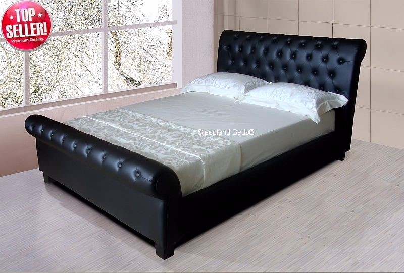 Sleepland Carrington Black Faux Leather Bed Frame 4ft 6 Double