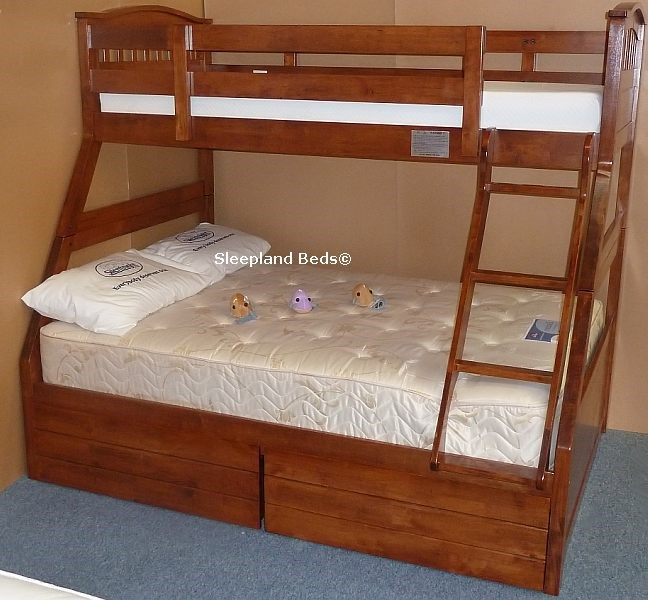 Cherry Oak Three Sleeper Cosmos Triple Bunk Bed In Cherry Oak Finish