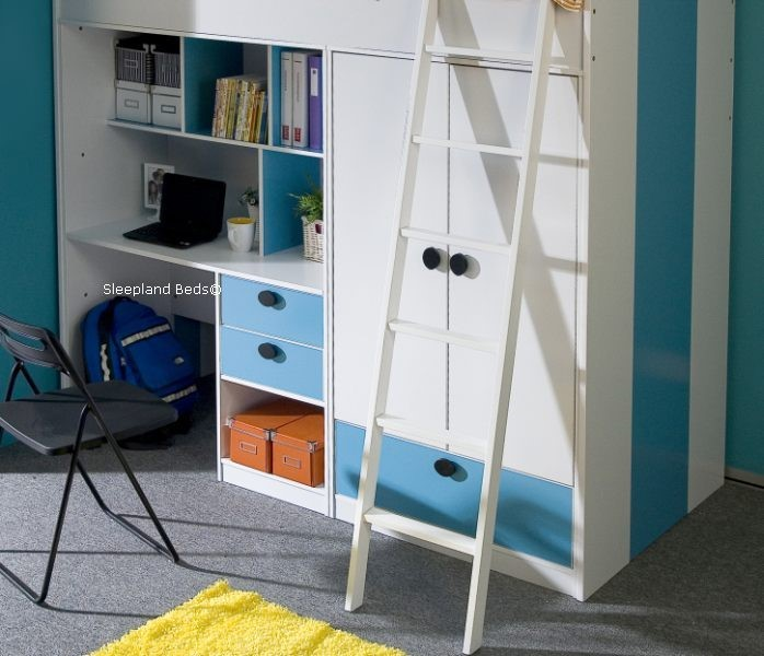 ... High Sleeper Bed With Wardrobe ... & High Sleeper Bunk With Wardrobe And Desk - Blue And White Oxford Bed