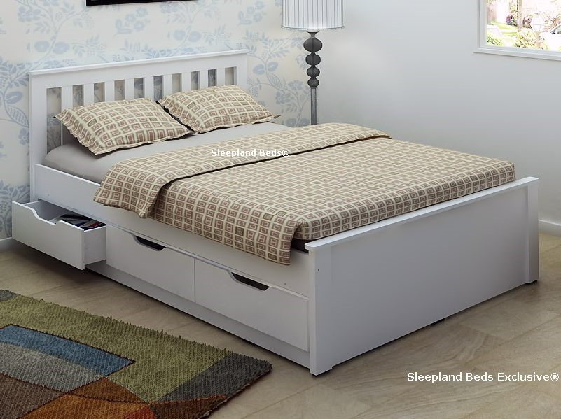 Almeria Double White Bed Frame. & Almeria White Wooden Bed Frame | Sleepland Beds