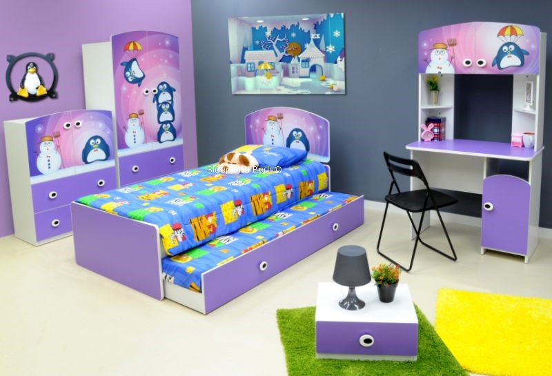 Lilac Penguin Bed With Trundle And Kids Bedroom Furniture Set